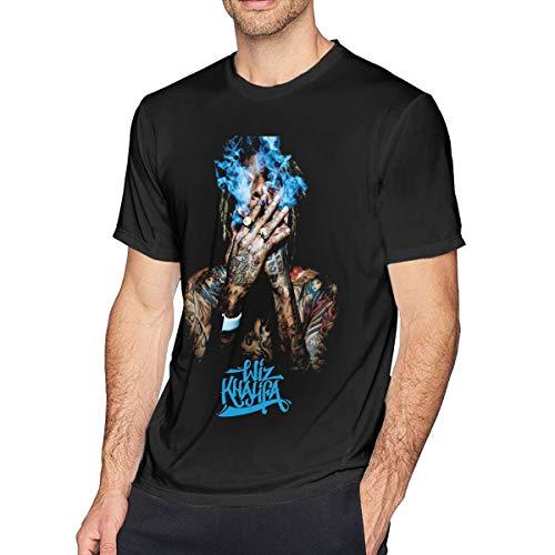 Newlt Mens Funny Wiz Khalifa Music Band T-Shirts L Black (Wiz Khalifa Ft Snoop Dogg French Inhale)