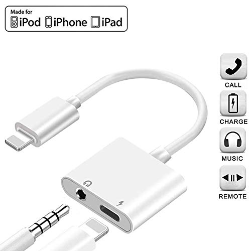 [Apple MFi Certified] Headphone Jack Adapter Aux Cable, 2 in 1 Lightning to 3.5mm Splitter Jack Dongle Charger & Audio Connector for iPhone 11 Pro Xs Xr X 8 7 Plus,Calling & Music Control & iOS 13
