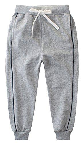 KISBINI Big Boy's Cotton Elastic Sweatpants Sports Pants For children F-Grey 6T