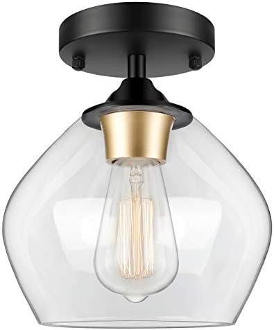 Industrial Semi Flush Mount Ceiling Light with Clear Glass Shade, Vintage Close to Ceiling Light, Farmhouse Hanging Ceiling Light Fixture for Hallway, Dining Room, Bedroom, Entryway, Cafe, Bar, Foyer