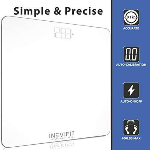 INEVIFIT Bathroom Scale, Highly Accurate Digital Bathroom Body Scale, Measures Weight for Multiple Users. Includes a 5-Year Warranty 5