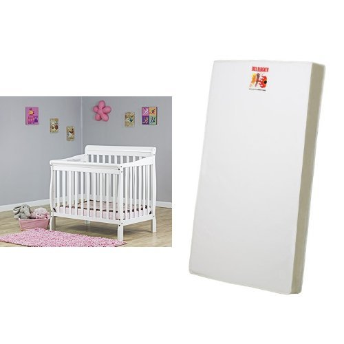 Dream On Me 3 in 1 Aden Convertible Mini Crib, White and 3 Portable Crib Mattress, White by Dream On Me