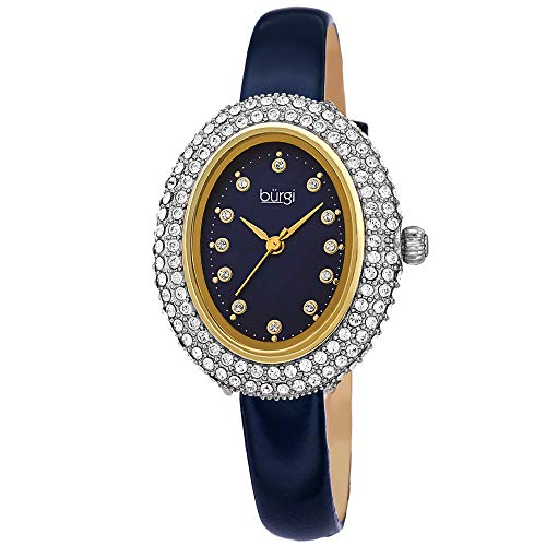 Burgi Swarovski Crystals Oval Watch - Genuine Swarovski Studded Double Row Crystals, Patent Leather Strap, 12 Crystal Markers On Mother of Pearl Dial - Mother's Day Gift- BUR234BU (Blue) Double Row Oval Bracelet