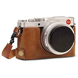 MegaGear MG1604 Ever Ready Genuine Leather Camera Half Case Compatible with Leica D-Lux 7 - Brown