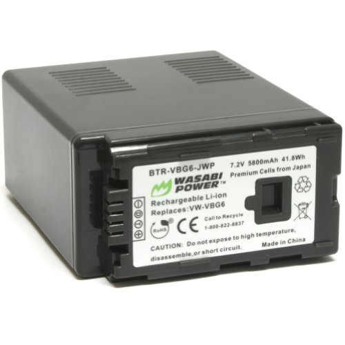 - Wasabi Power Battery for Panasonic VW-VBG6 and Panasonic AG-AC7, AG-AC130A, AG-AC160A, AF100, HMC40, HMC70, HMC80, HMC150, HMC153, HMR10, HSC1U, HDC-DX1, DX3, HS9, HS20, HS100, HS200, HS250, HS300, HS350, HS700, MDH1, SD1, SD3, SD5, SD7, SD8, SD9, SD20, SD10, SD100, SD200, SD600, SD700, SD707, SX5, TM10, TM20, TM30, TM200, TM300, TM350, TM650, TM700, TM750, NV-GS90, GS98, PV-GS90, GS320, GS500, SDR-H48, H50, H68, H80, H90, H258, VDR-D50, D58, D310