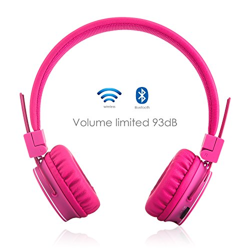 Bluetooth Volume Limiting Kids Headphones Wireless/Wired Stereo On ear HD Headset with SD Card FM Radio In-line Volume Control Microphone for Children Adults ( Pink )