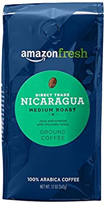 AmazonFresh Direct Trade Nicaragua Ground Coffee, Medium Roast, 12 Ounce