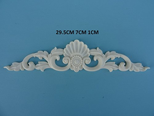 Decorative large shell scroll center applique onlay furniture moulding Z7 ()