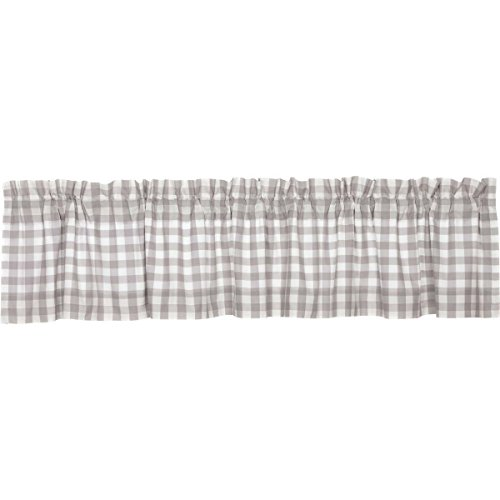 VHC Brands Farmhouse Kitchen Window Curtains-Annie Buffalo Check White Lined Valance, 16