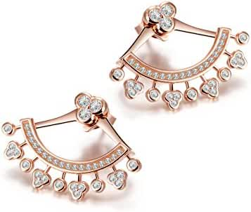 Wistic Women Stainless Steel Gold Plated Cubic Zirconia Earring Jackets