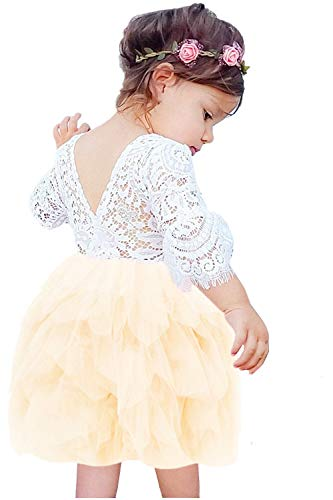 (2Bunnies Girl Beaded Peony Lace Back A-Line Tiered Tutu Tulle Flower Girl Dress (Ivory Bell Sleeve, 6)