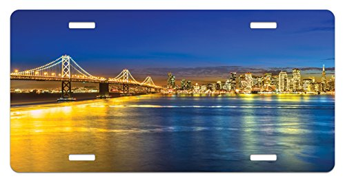 Lunarable USA License Plate, San Francisco California USA Tourist Attractions Skyscrapers and The Bridge View, High Gloss Aluminum Novelty Plate, 5.88 L X 11.88 W Inches, Navy Blue Yellow