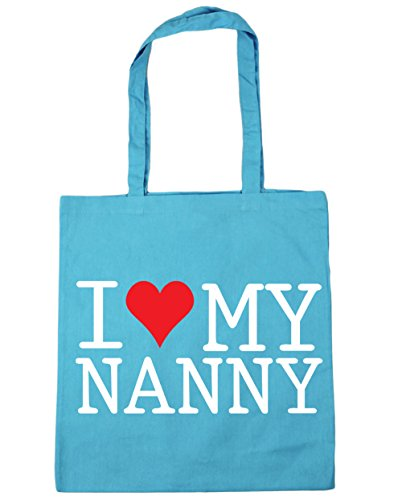 HippoWarehouse I Love My Nanny Tote Shopping Gym Beach Bag 42cm x38cm, 10 litres