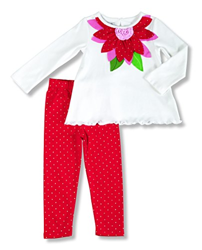 Mud Pie Baby Girl Christmas Poinsettia Tunic & Leggings Set (0-6 Months)