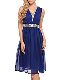 Women's Sleeveless Summer V Neck Sequined Sexy Chiffon A Line Party Cocktail Dress