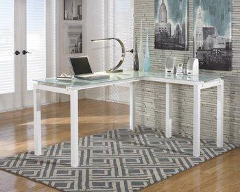 Ashley Furniture Signature Design - Baraga Home Office Desk - Contemporary Style - Glass Top - white by Signature Design by Ashley