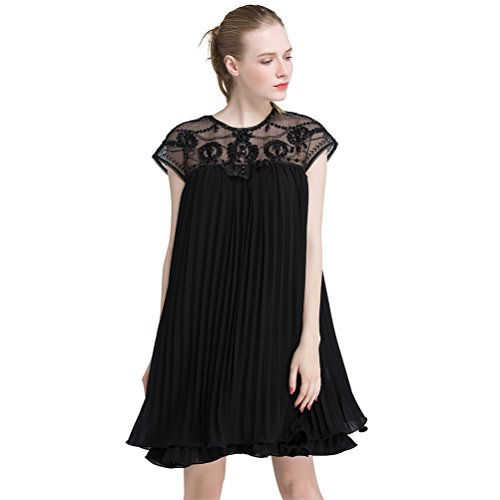 BLUETOP Women's Embroidery Lace Cap Sleeve Dress Sexy Sweet Temperament Cocktail Evening Party Swing Dress Pleated - Romantic Chiffon