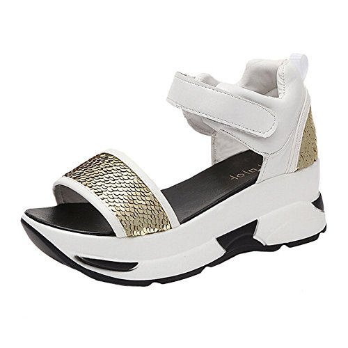 Angelliu Womens Casual Bling Sequins Scale Open-Toe Platform Wedges Sandals Sports Trainers Gold Dx6Xvl8x2N