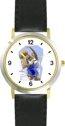 High Action Basketball Art No.3 Basketball Theme - WATCHBUDDY DELUXE TWO-TONE THEME WATCH - Arabic Numbers - Black Leather Strap-Women's Size-Small by WatchBuddy
