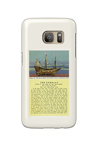 Plymouth, Massachusetts - Mayflower Model, the Compact in Plymouth Hall Scene - Vintage Halftone (Galaxy S7 Cell Phone Case, Slim Barely - Plymouth Hall