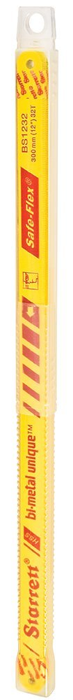 Starrett KBS1232-10 Bi-Metal Unique High Speed Steel Safe-Flex Hacksaw Frame Blade, 0.025'' Thick, 32 TPI, 12'' Length x 1/2'' Width (Pack of 10) by Starrett