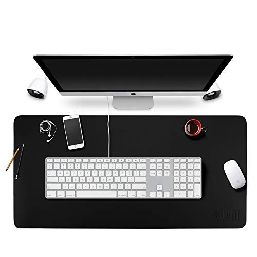 BUBM Office Writing Mat Table Desk Pad Mouse Pad Blotter Protector 35.4x 17 PU Leather for Office/Home, Easy-to-Clean Surface (Black)