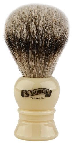 Colonel Conk Products 910 Silver Tip Badger Brush with faux Ivory Handle ()