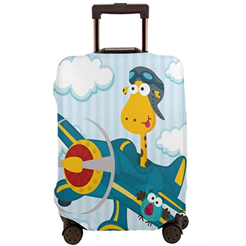 Travel Luggage Cover,Goofy Giraffe On A Blue Plane With Two Birds Animal Aviation Goggles Suitcase Protector