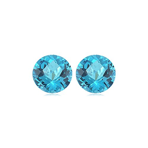 Mysticdrop 13.90 Cts of 12 mm Round Checker Board AA Matching Loose Swiss Blue Topaz (2 pcs) Gemstone