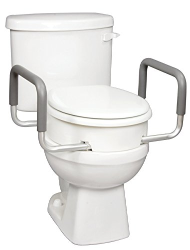 Carex Health Brands Toilet Seat Elevator with Handles for Standard Round (Raised Toilet Seat Handles)