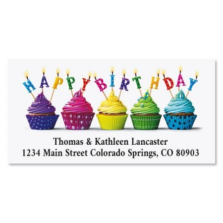 Cupcake Wishes Birthday Return Address Labels - Set of 144 1-1/8 x 2-1/4 Self-Adhesive, Flat-Sheet celebration labels