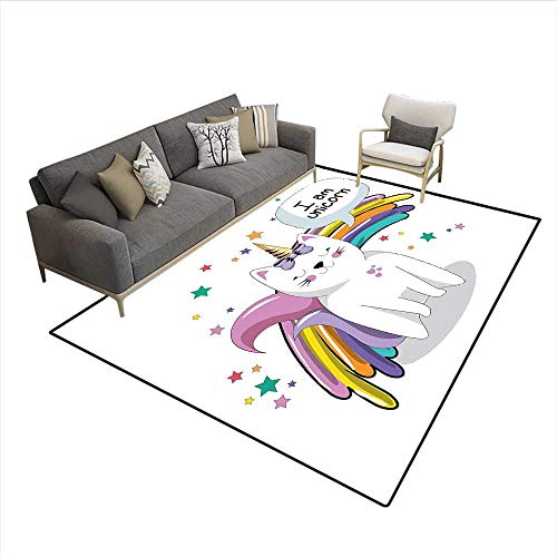 Floor Mat,Fairy Animal with Ice Cream Cone Bow Stars and Rainbow Kids Imagination Fiction,Rugs for Bedroom,Multicolor ()