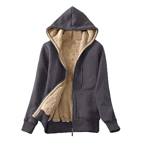 Nice Hoodie,Womens KIKOY Casual Winter Warm Sherpa Lined Zip Up Sweatshirt Coat Gray
