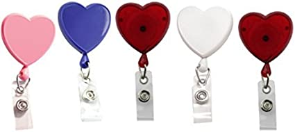 Love Heart VOTENVO 24 Retractable Handmade Badge Holder 5 Pack Badge Reel Heart Shaped Creative Colorful Badge Holder Reel for ID Name Card with 360/° Swivel Alligator Clip
