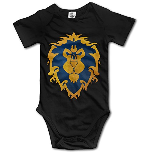 Ogbcom Baby's Alliance World Of Warcraft Logo Hanging Bodysuit Romper Playsuit Outfits Clothes Climbing Clothes Short Sleeve