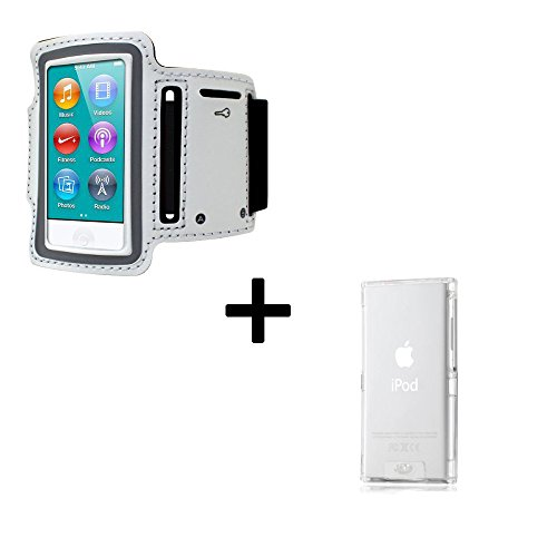 Armband and Case for Apple iPod Nano 7, Armband with Touchable Window Key Slot Earphone Port and Adjustable, Case Clear and Scratchproof (White Armband and Clear Case)
