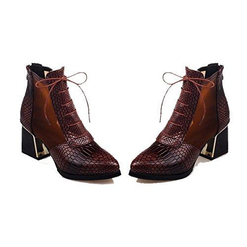 Allhqfashion Women's PU Low-top Solid Zipper Kitten-Heels Boots Brown 3wQBdJ6J