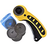 Rotary Cutter & 6 Blades, 45mm Comfort Design (Yellow)