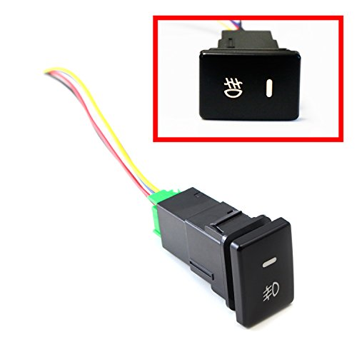 iJDMTOY (1) Factory Style 4-Pole 12V Push Button Switch w/ LED Background Indicator Lights For Fog Lights, DRL, LED Light Bar, etc (200 Series For Toyota, 33x22mm) (Oem Style Wire)