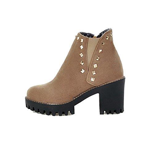 AllhqFashion Damen Rein Blend-Materialien Hoher Absatz Reißverschluss Rund Zehe Stiefel, Aprikosen Farbe, 38