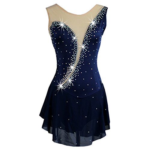 NAKOKOU Customized Size One-Pieces Ice Skating Dresses for Women(Navy Blue,M)