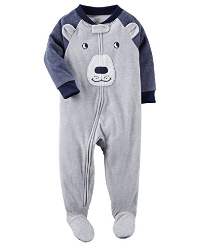 Fleece Blue Carters (Carter's Boys' 12M-4T Blue Bear Face Fleece Pajamas Gray 2T)