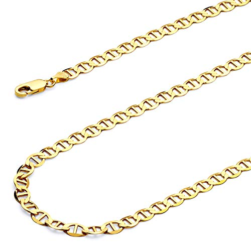 Wellingsale 14k Yellow Gold SOLID 5.5mm Polished Flat Mariner Chain Necklace - 22