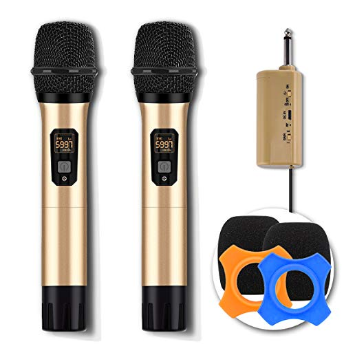 Wireless Microphone System UHF Dual Handheld Dynamic Mic Set with 1/4