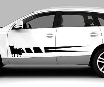 2x Car Sticker Spanish Bull Spain Osborne Bull Spain Side Stripes