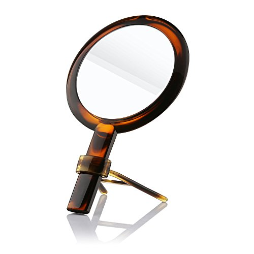 Beautifive Double Sided Makeup Mirror, Bathroom Vanity Mirror with 1x/7x, Compact Hand Mirror and Tabletop Magnifying Mirror with Stand, Cosmetic Mirror for Travel, Amber Color (Mirror Stand Round Vanity)