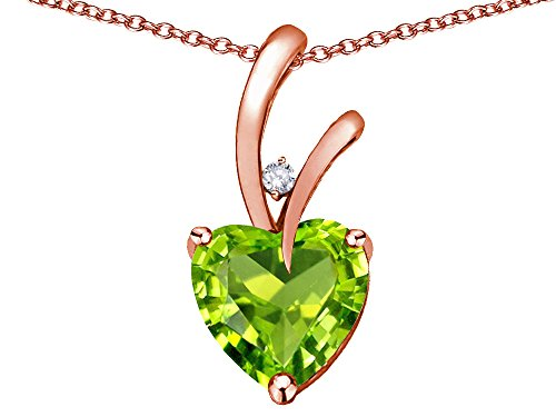 Star K Heart Shape 8mm Genuine Peridot Endless Love Pendant Necklace 10 kt Rose Gold ()