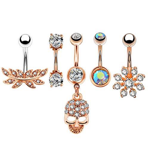 (OUFER 5 Pcs Stainless Steel Rose Gold Belly Button Rings Leaf Flower Skull for Women Girls CZ Navel Rings Body Piercing)