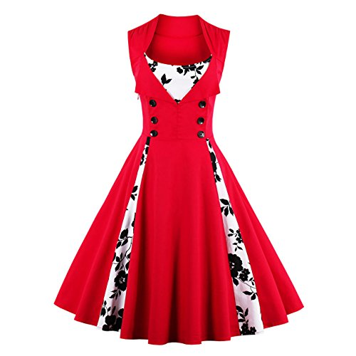 Polka Dot Prom Fancy Dress Costumes (ISYITLTY Women's Vintage Dresses Polka Dot 1950s Retro Rockabilly Costume redf5x)