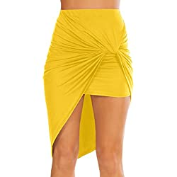 Womens Drape up Stretchy Asymmetrical High Low Short Mini Bodycon Pencil Skirt Yellow Small